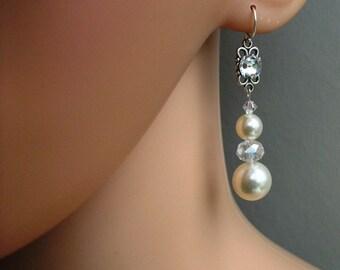 Crystal & Pearl Drop Earrings On Sterling Silver Bridal Accessories