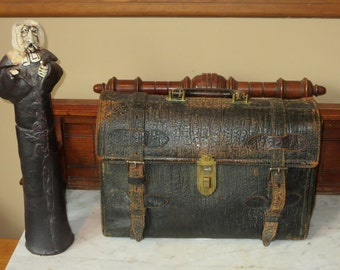 Spring Sale Antique Black Walrus Hide 1930's Briefcase- Thankfully Rare- Portion Of Proceeds Will Be Donated To WWF Adopt A Walrus