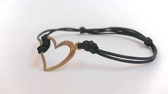Heart Bracelet Adjustable Cord Bracelet Leather Jewelry Black Bracelet Metal charm Knotted Black waxed Thread love Valentine's Gift