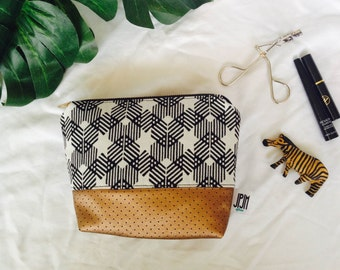 zipper pouch white black tribal pouch leather pouch cosmetic storage make up bag pouch case