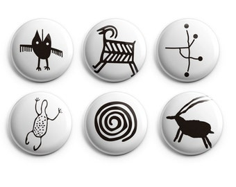 "Petroglyph buttons or magnets  - Set of 6 (Six) 1.25"" Buttons, petroglyph fridge magnets, archeology buttons, cave paintings, ancient"