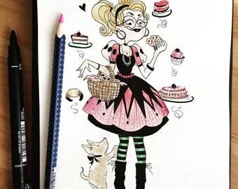 The Cake addict witch - Original illustration