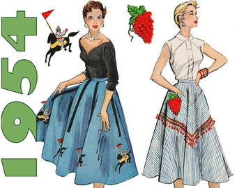 "Vintage 1950s Skirt Pattern MCCALLS 1851 waist 24-28"" UNCUT Rockabilly Skirt Full Circle Skirt Swing Skirt Applique Skirt Retro Skirt"