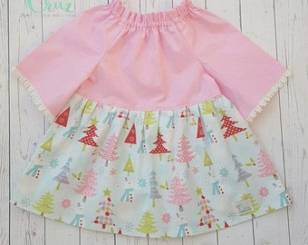 6-12 month Ready to ship! Christmas dress-pink- ruffle neck-bell sleeve