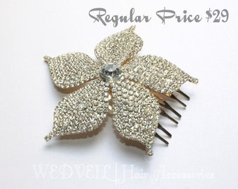 Flower Hair Comb for Wedding, with Crystals