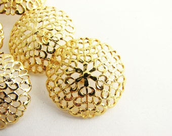 "Gold tone metal buttons, 5 light openwork wiht metal shank filigree buttons, 23 mm - 7/8"", unused!!"