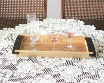 Curved-Handle Elegant and Decorative Serving Tray or Decorative Center Piece