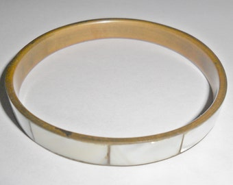 Cool vintage thin brass bangle bracelet with mother of pearl inlay
