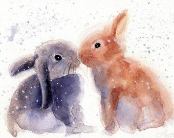 Bunny print - Rabbits Print - Bunny Watercolor - Christmas gift - Love - Watercolor Print - Personalized print - Bunnies - Funny print