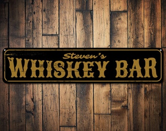 Whiskey Bar Sign, Personalized Bar Name Sign, Custom Beer Sign, Metal Home Bar Decor, Whiskey Lover Gift - Quality Aluminum ENS1001362