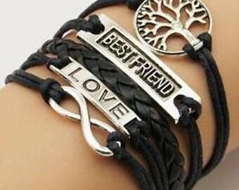 Tree of life bracelet# Charm Bracelet#Leather Bracelet#infinity bracelet# Black Bracelet #his and hers Bracelet#braid Bracelet#love bracelet