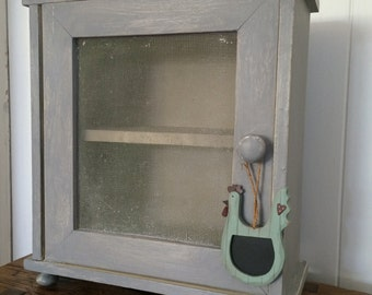 Hand painted Vintage French Kitchen Cabinet, Bathroom Cabinet, Shabby Chic