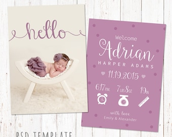 Birth announcement template card. Digital baby girl birth card for instant download. Fully editable photoshop PSD files. Size 5x7.