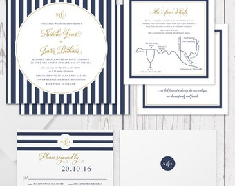Digital Wedding Invitation Suite, Printable or Professionally Printed, Navy Blue and Gold, Nautical, Invites, Wedding Printable, Nordic Navy