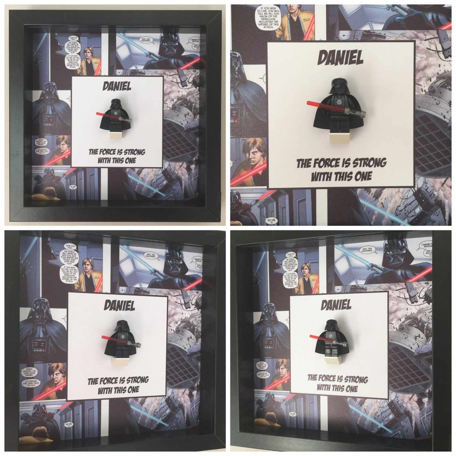 darth vader minifigure frame mum gift geek box dad idea for her for him star wars comic lego art frames framed birthday