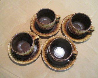 Superior Wedgwood Oven To Table Mid Century Modern Sierra Pattern Set Of 4 Cups U0026  Saucers