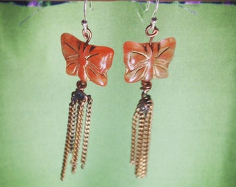 Goldtone-Fringed Butterfly Earrings