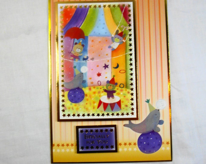 Circus Children's Birthday Card, Greeting Card, Children's Card, Any Age, Bears at Circus, Boy or Girl,
