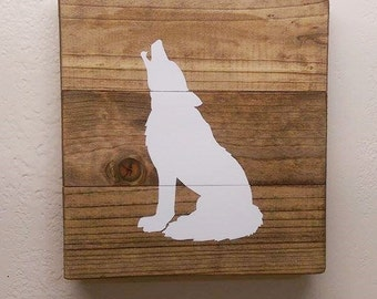 Small Sitting Wolf Wood Sign - Wooden Wolf Wall Hanging - Woodland Nursery Decor - Painted Wildlife Art - Cabin Decor