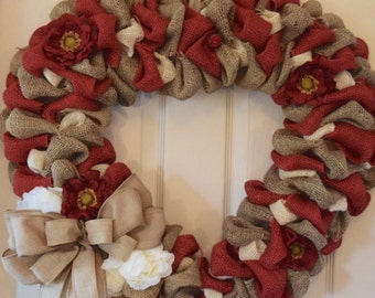 Red, Cream and Beige Bubble Burlap Heart-Shaped Wreath with Zinnias and Peonies; Burlap Wreath with Flowers; Love Wreath; Love Decor