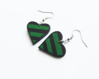 Retro wooden earrings, earrings wood, stripes, hand painted, wooden hearts