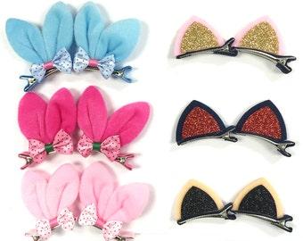 Bunny Ears & Cat Ears Hair Clips - Rabbit Hair Clips - Cat Hair Clips - Bunny Hair Clips - Animal Hair Clips - Hair Accessories (set of 6)