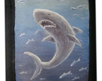 Mens Wallet White Shark  canvas painting acrylic paints wallet small thin wallet mini miniature personal personalized wallet sea predator