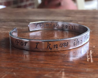 "Jeremiah 29:11 For I know the plan I have for you... | Cuff Bracelet Personalized Jewelry Hand Stamped 1/4"" Copper Smooth, Organic Texture"
