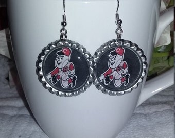 Earrings inspired by the Cincinnati Reds, Bottle cap earrings.