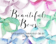 """Hand-painted Watercolour Bows Clip Art with 12"""" x 12"""" ready-made arrangement"""
