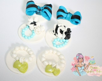 6x Ladies Vintage Shabby Chic Edible Fondant Cupcake Toppers