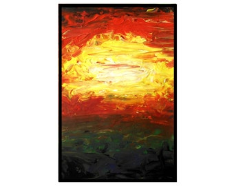 Abstract sunrise painting original art acrylic - Avenging Morning by Caerys Walsh