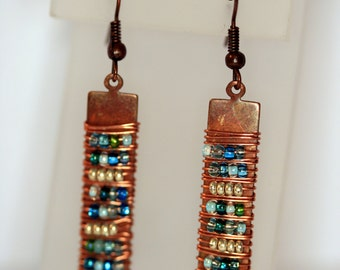 Copper earring with Turquoise wire wrap