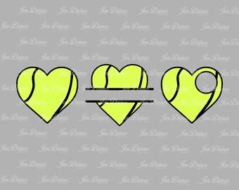 Tennis heart SVG DXF EPS, split tennis svg, tennis file, tennis monogram,tennis love, files for Cricut, Sihouette files, svg files