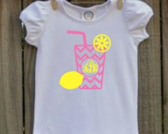 girls personalized pink lemonade birthday shirt vinyl custom