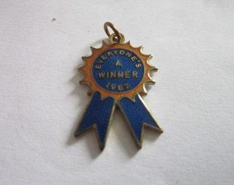 "Vintage "" Everyone's a winner "" Enameled Charm or Pendant"