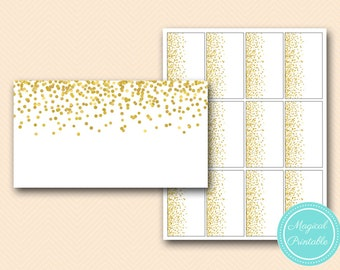 Gold Confetti Place cards labels, name cards, Printable Gold confetti food labes, Printables toppers, BS46 tlc148