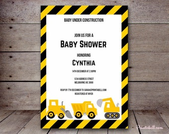"DIY 5x7"" Editable Invitation, Construction Invitation, Construction Baby Shower Invitation, Construction Birthday Invitation TLC20"