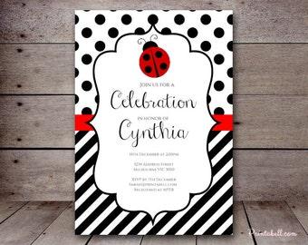 DIY Ladybug Custom Invitation, Baby Shower Invitation, Bridal Shower, Birthday Party Invitations, TLC515