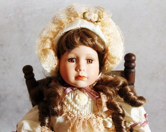 NEW PRICE Vintage doll, bisque face doll, collectible doll, retro toy