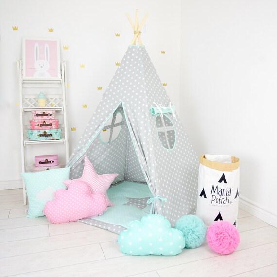 teepee set kids play tent tipi kid playhouse wigwam zelt tente. Black Bedroom Furniture Sets. Home Design Ideas