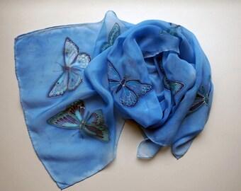 Silk Crepe de Chine Dark Blue Butterflies Scarf