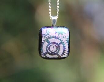 Lilac steampunk gears dichroic glass pendant, dichroic glass necklace,  fused glass pendant, dichroic steampunk necklace ,gears,  dichroic,