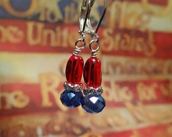 4th of July earrings, Patriotic earrings, Red white and blue earrings, July 4th earrings, Independence day earrings, July 4th earrings