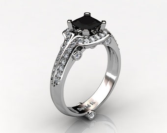 High Fashion 14K White Gold 1.0 Ct Princess Black Diamond Diamond Ring R1050-14KWGDBD