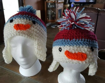 Crochet snowman whole family beanies with or without ear flaps