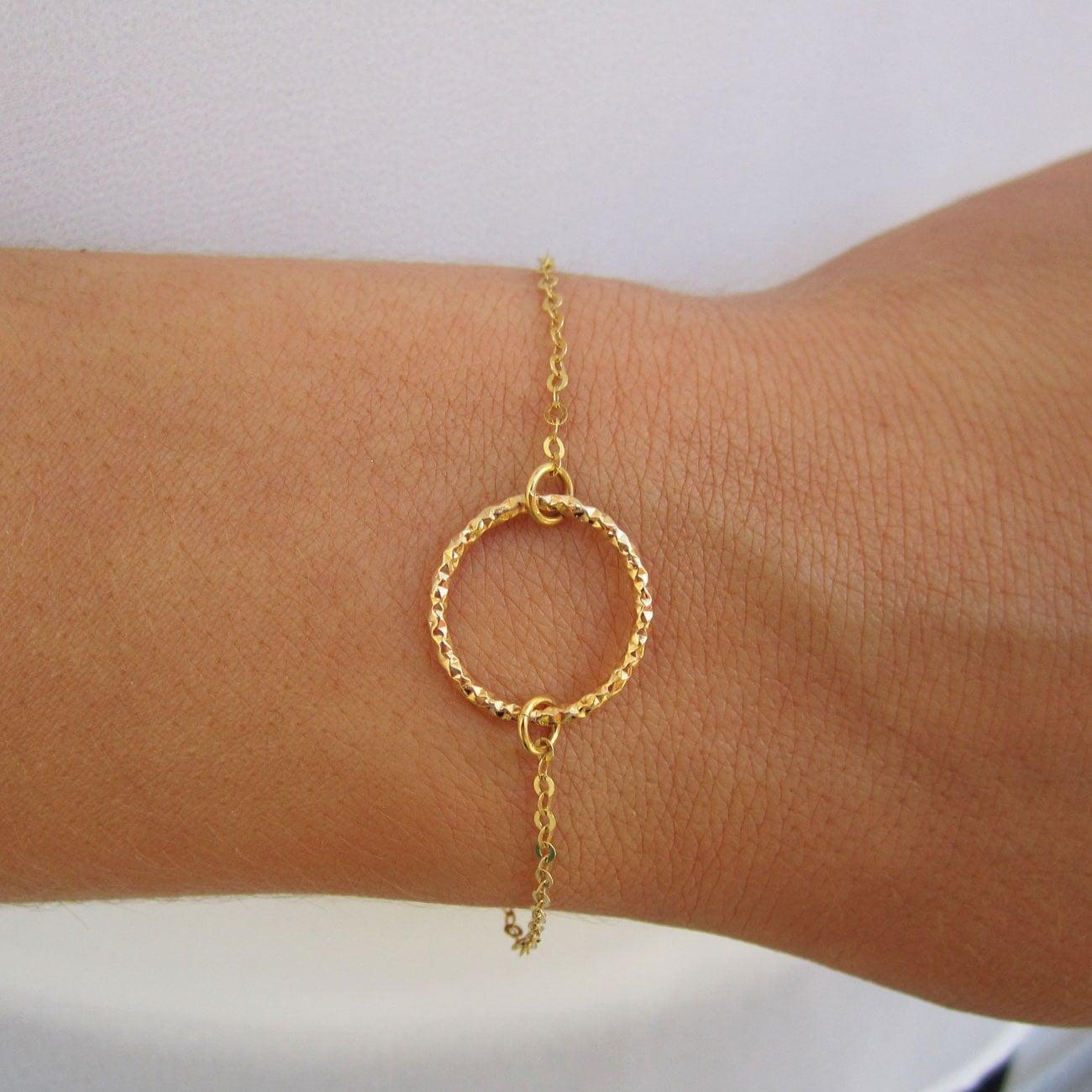 Gold Band Bracelet: Gold Ring Bracelet Dainty Bracelet Gold Circle Bracelet 14K