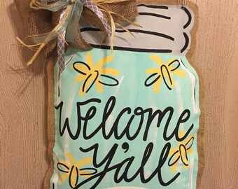 United States Painted Burlap Door Hanger 4th By Julestrulydesigns