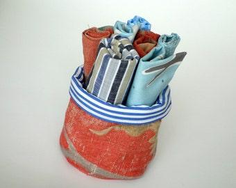 Handmade Vintage Fabric Organiser/Caddy/Storage Pot, Reclaimed Fabric Storage Caddy