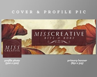 Timeline Cover + Profile Picture | Miss Creative | Cover, Profile Picture, Branding, Web Banner, Blog Header | maroon flowers, orange floral